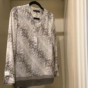 Rose & Olive white/brown long sleeve blouse sz XS